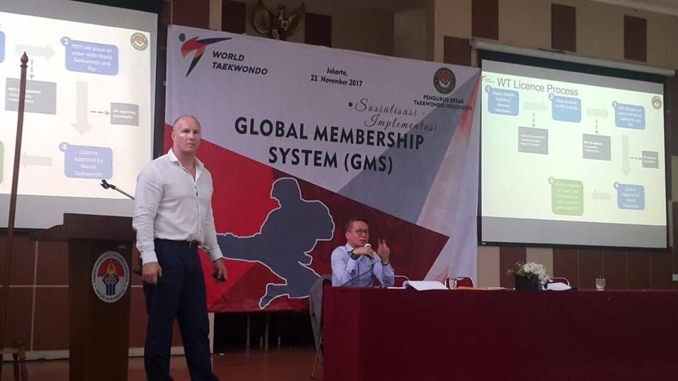 Justin Tenbeth and Secretary General of Indonesia  Taekwondo Federation, Mr Dirc Richard